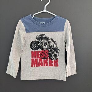 """Grey & blue """"Mess Maker"""" long sleeved shirt"""
